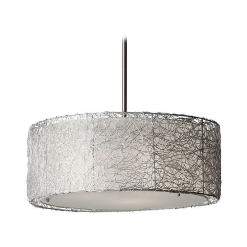 Feiss Lighting Modern Drum Pendant Light with Grey Shade in Brushed Steel Finish F2702/3BS