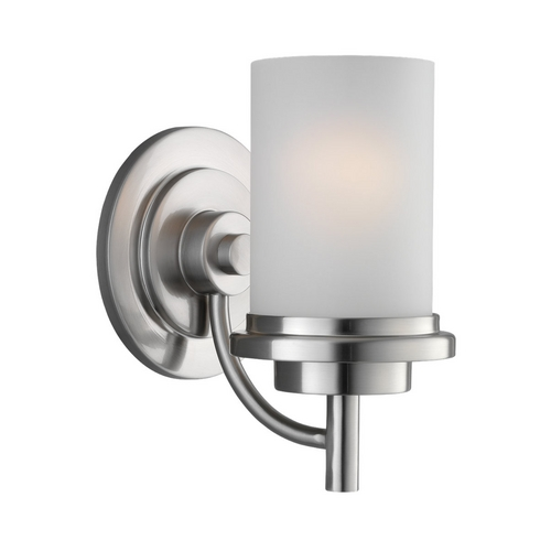 Sea Gull Lighting Modern Sconce Wall Light with White Glass in Brushed Nickel Finish 44660-962