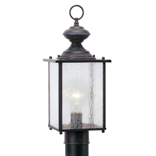 Sea Gull Lighting Post Light with Clear Glass in Textured Rust Patina Finish 8286-08