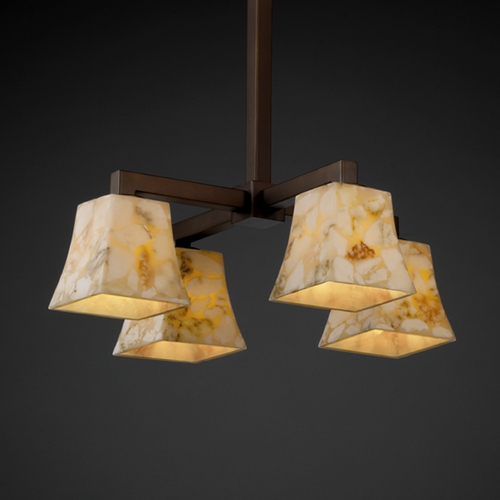 Justice Design Group Justice Design Alabaster Rocks! 4-Light Chandelier in Dark Bronze ALR-8920-40-DBRZ