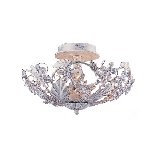 Crystorama Lighting Crystal Semi-Flushmount Light in Antique White Finish 5305-AW