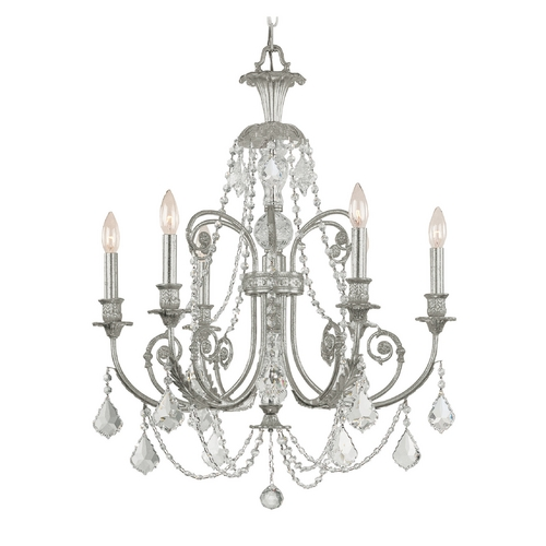 Crystorama Lighting Crystal Chandelier in Olde Silver Finish 5116-OS-CL-MWP