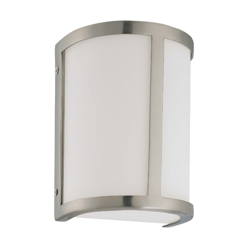 Nuvo Lighting Sconce Wall Light with White Glass in Brushed Nickel Finish 60/3801