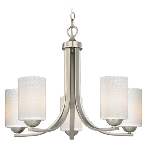 Design Classics Lighting Modern Chandelier with White Glass in Satin Nickel Finish 584-09 GL1020C