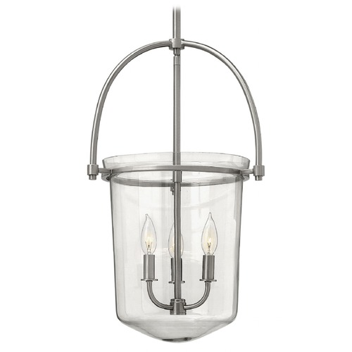 Hinkley Lighting Brushed Nickel Hanging Lantern Light with Clear Glass 3033BN