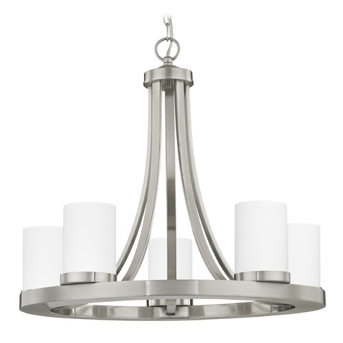 Design Classics Lighting Satin Nickel Chandelier with White Glass 5-Light 162-09 GL1028C