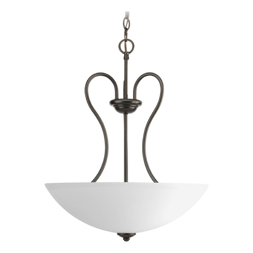 Progress Lighting Progress Pendant Light with White Glass in Antique Bronze Finish P3955-20