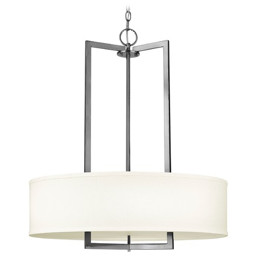 Hinkley Lighting Modern Drum Pendant Light with White Shade in Antique Nickel Finish 3204AN