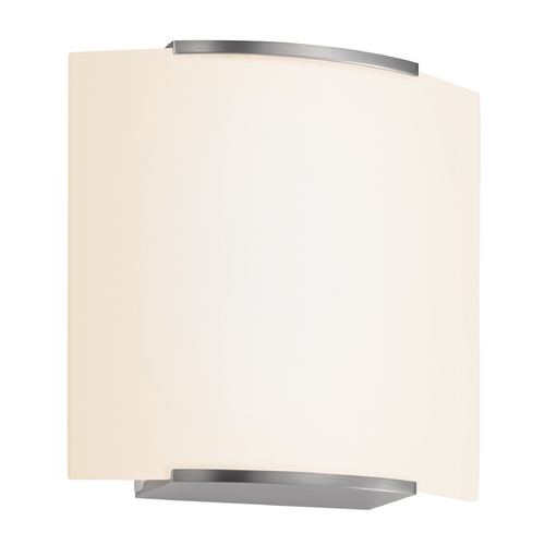 Sonneman Lighting Modern Sconce Wall Light with White Glass in Satin Nickel Finish 3876.13