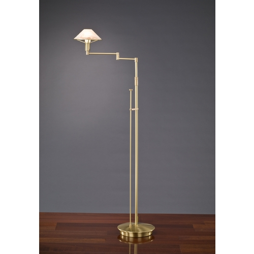 Holtkoetter Lighting Holtkoetter Modern Swing Arm Lamp with Alabaster Glass in Brushed Brass Finish 9434 BB ABR