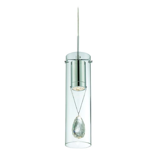 Lite Source Lighting Lite Source Lighting Jacquelyne Chrome LED Mini-Pendant Light with Cylindrical Shade EL-10130
