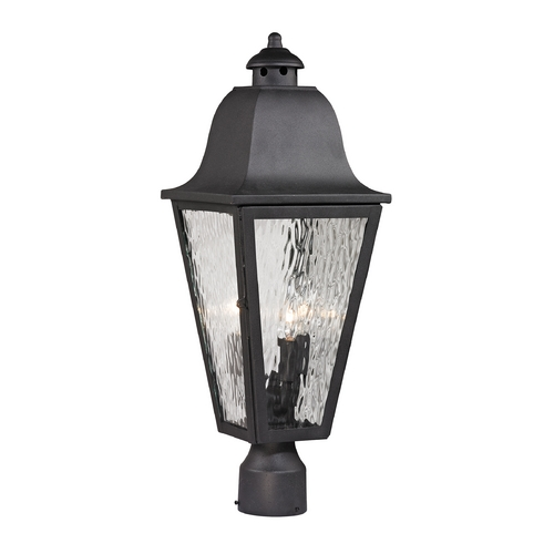 Elk Lighting Post Light with Clear Glass in Charcoal Finish 47105/3