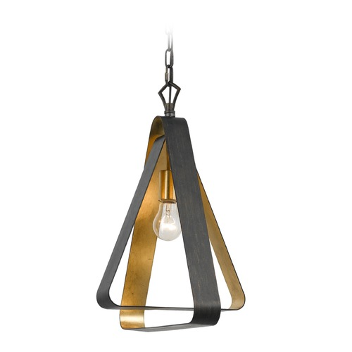 Crystorama Lighting Mid-Century Modern Pendant Light Bronze / Gold Luna by Crystorama Lighting 591-EB-GA