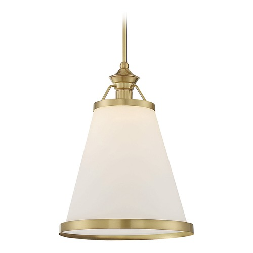 Savoy House Savoy House Lighting Ashmont Warm Brass Pendant Light with Conical Shade 7-130-1-63