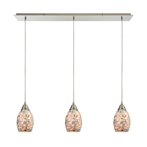 Elk Lighting Elk Lighting Capri Satin Nickel Multi-Light Pendant with Bowl / Dome Shade 10444/3LP
