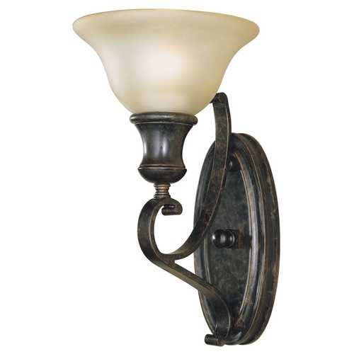 Feiss Lighting Sconce Wall Light with Amber Glass in Liberty Bronze Finish WB1240LBR