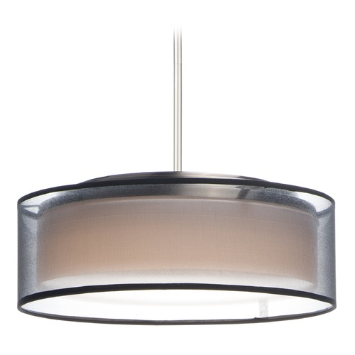 Maxim Lighting Maxim Lighting Prime Satin Nickel LED Pendant Light with Drum Shade 10224BOSN