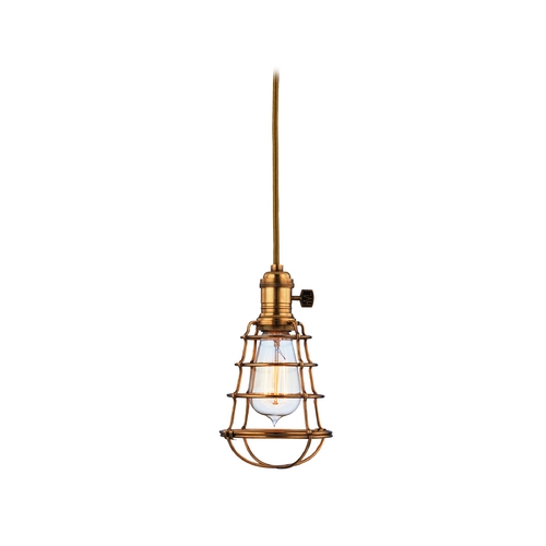 Hudson Valley Lighting Mini-Pendant Light with Gold Cage Shade 8002-AGB-WG
