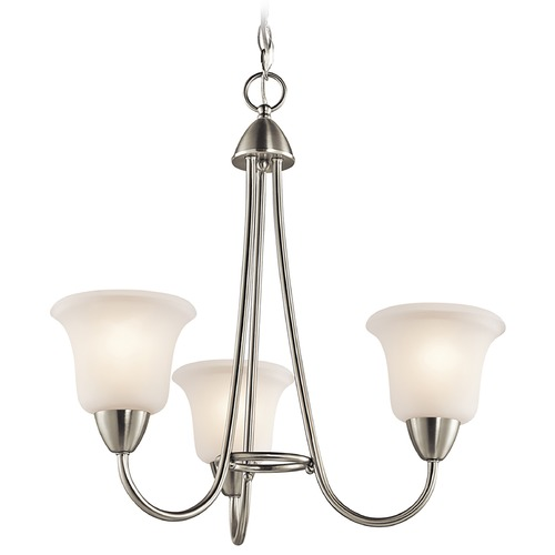 Kichler Lighting Kichler Mini-Chandelier with White Glass in Brushed Nickel Finish 42883NI