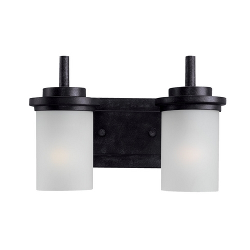 Sea Gull Lighting Modern Bathroom Light with White Glass in Blacksmith Finish 44661-839