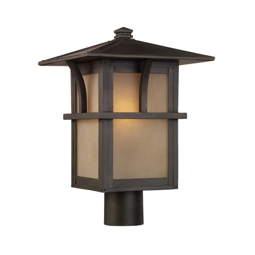 Sea Gull Lighting Post Light with Amber Glass in Statuary Bronze Finish 82880-51