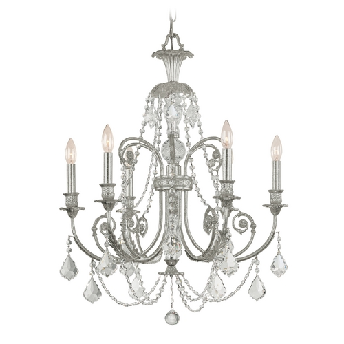 Crystorama Lighting Crystal Chandelier in Olde Silver Finish 5116-OS-CL-S