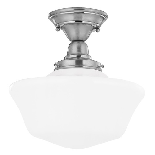 Design Classics Lighting 12-Inch Satin Nickel Schoolhouse Semi-Flushmount Ceiling Light FBS-09 / GA12