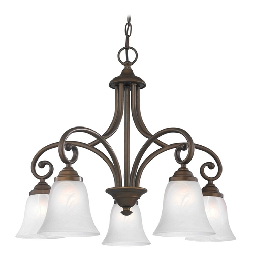 Design Classics Lighting Chandelier with Alabaster Glass in Bronze Finish 717-220 GL9222-ALB