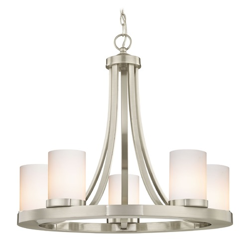 Design Classics Lighting Satin Nickel Chandelier with Gloss White Glass 5-Light 162-09 GL1024C