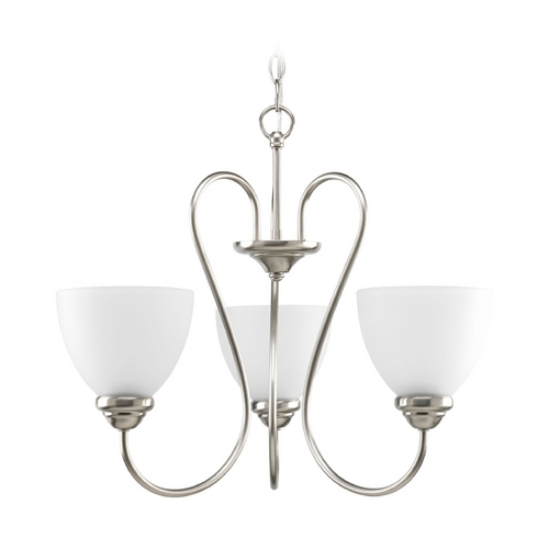 Progress Lighting Progress Chandelier with White Glass in Brushed Nickel Finish P4664-09