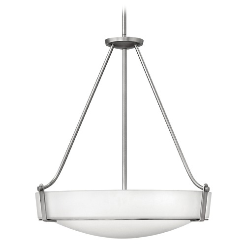 Hinkley Lighting Modern Pendant Light with White Glass in Antique Nickel Finish 3224AN