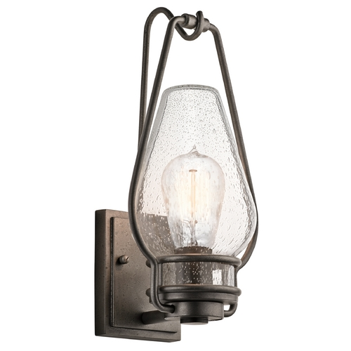 Kichler Lighting Kichler Outdoor Wall Light with Clear Glass in Anvil Iron Finish 49006AVI
