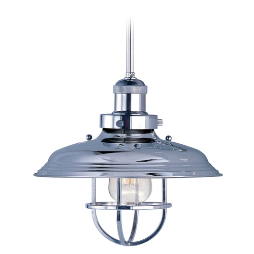 Maxim Lighting Maxim Lighting Mini Hi-Bay Polished Nickel Pendant Light with Bowl / Dome Shade 25051PN/BUI