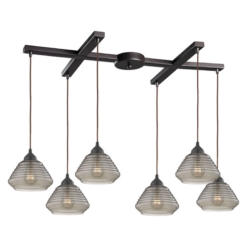 Elk Lighting Elk Lighting Orbital Oil Rubbed Bronze Multi-Light Pendant with Bowl / Dome Shade 10434/6