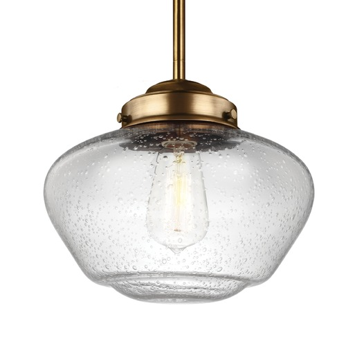 Feiss Lighting Feiss Alcott Aged Brass Mini-Pendant Light P1384AGB