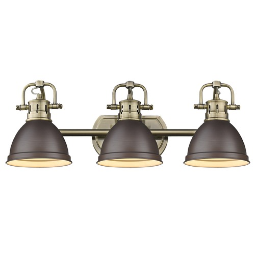 Golden Lighting Golden Lighting Duncan Ab Aged Brass Bathroom Light 3602-BA3 AB-RBZ