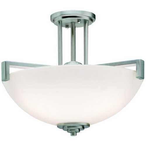 Kichler Lighting Kichler Brushed Nickel Semi-Flushmount Ceiling Light with White Glass 3797NI