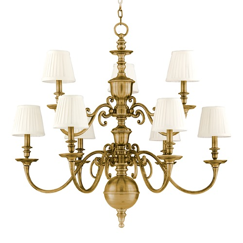 Hudson Valley Lighting Chandelier with White Shades in Aged Brass Finish 1749-AGB