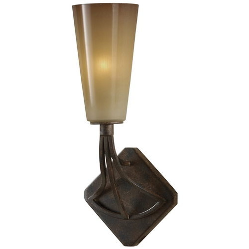 Feiss Lighting Sconce Wall Light with White Glass in Mocha Bronze Finish WB1531MBZ