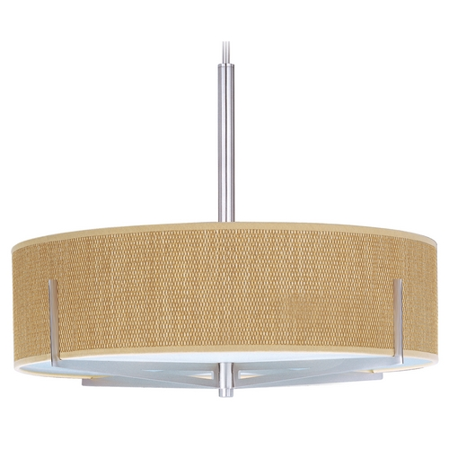 ET2 Lighting Modern Pendant Light with Brown Shades in Satin Nickel Finish E95408-101SN