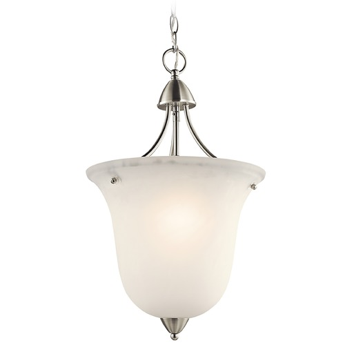 Kichler Lighting Kichler Pendant Light with White Glass in Brushed Nickel Finish 42882NI