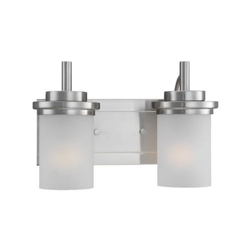 Sea Gull Lighting Modern Bathroom Light with White Glass in Brushed Nickel Finish 44661-962