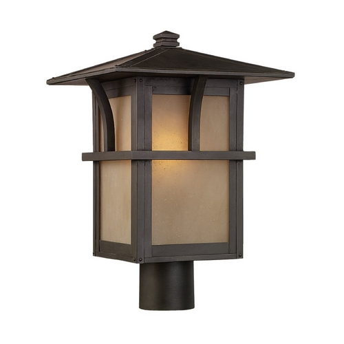 Sea Gull Lighting Post Light with Amber Glass in Statuary Bronze Finish 82880BL-51