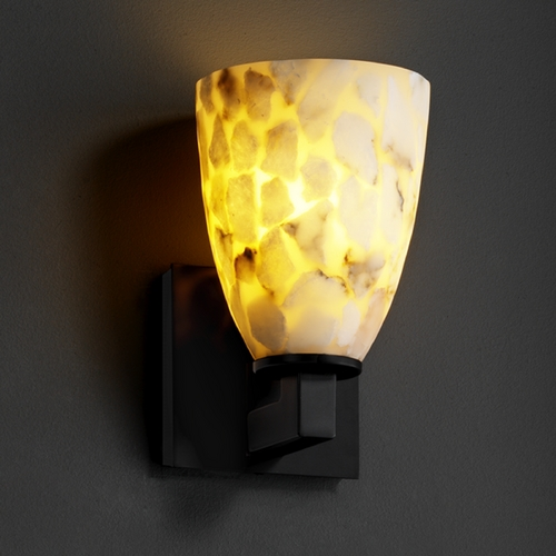 Justice Design Group Justice Design Group Alabaster Rocks! Collection Sconce ALR-8921-18-MBLK