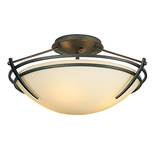 Hubbardton Forge Lighting Transitional Semi-Flushmount Light Iron Presidio Tryne by Hubbardton Forge Lighting 12441220-G47
