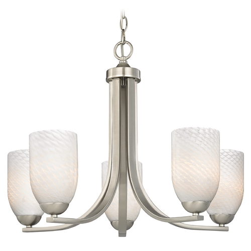 Design Classics Lighting Modern Satin Nickel Chandelier with White Art Glass and Five Lights 584-09 GL1020D
