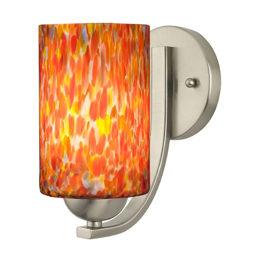 Design Classics Lighting Sconce with Art Glass in Satin Nickel Finish 585-09 GL1012C