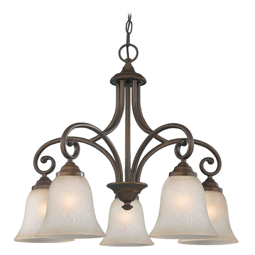 Design Classics Lighting Chandelier with Brown Glass in Bronze Finish 717-220 GL9222-CAR