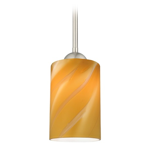 Design Classics Lighting Design Classics Gala Fuse Satin Nickel LED Mini-Pendant Light with Cylindrical Shade 681-09 GL1022C
