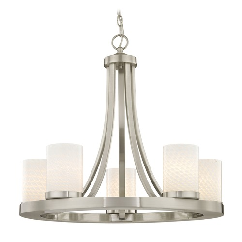 Design Classics Lighting Satin Nickel Chandelier with White Art Glass 5- Light 162-09 GL1020C